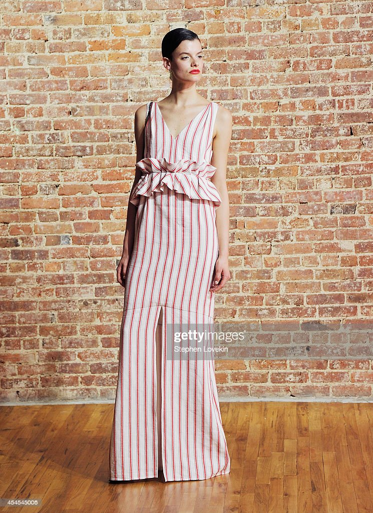 A model poses backstage at the Hellessy By Sylvie Millstein presentation during Mercedes-Benz Fashion Week Spring 2015 at Home Studios on September 3, 2014 in New York City.