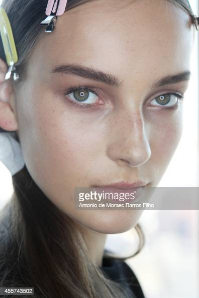A model poses backstage at the Hugo Boss show at MercedesBenz Fashion Week Spring 2015 at 4 World Trade Center on September 10 2014 in New York City
