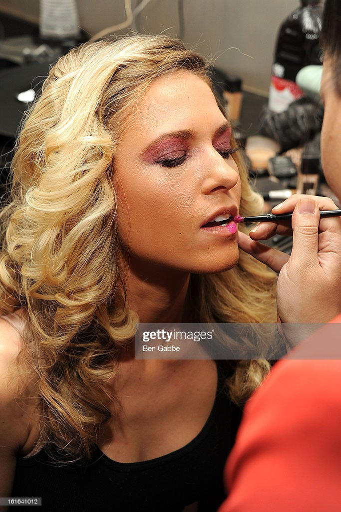 A model poses backstage at the Indashio fall 2013 fashion during Mercedes-Benz Fashion Week at Grand Central Station on February 13, 2013 in New York City.