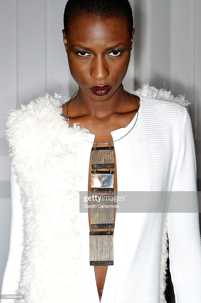 A model poses backstage at the Irina Schrotter Autumn/Winter 2013/14 fashion show during Mercedes-Benz Fashion Week Berlin at Brandenburg Gate on January 18, 2013 in Berlin, Germany.