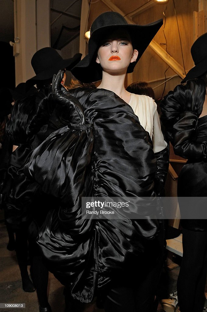A model poses backstage at the Jad Ghandour Fall 2011 fashion show during Mercedes-Benz Fashion Week at Exit Art on February 10, 2011 in New York City.