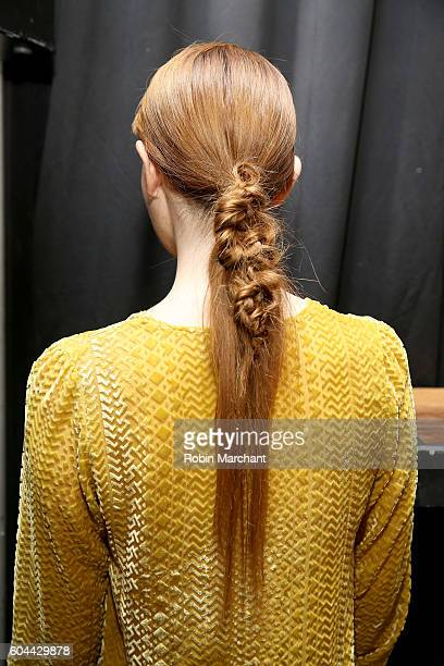 A model poses backstage at the Jasmine Chong SS17 presentation at AndAnd during New York Fashion Week on September 13 2016 in New York City