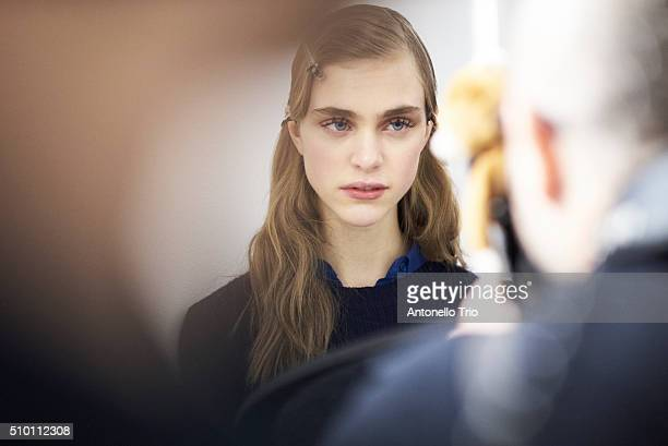 A model poses backstage at the Jason Wu fashion show during the Fall Winter 2016 New York Fashion Week on February 12 2016 in New York City