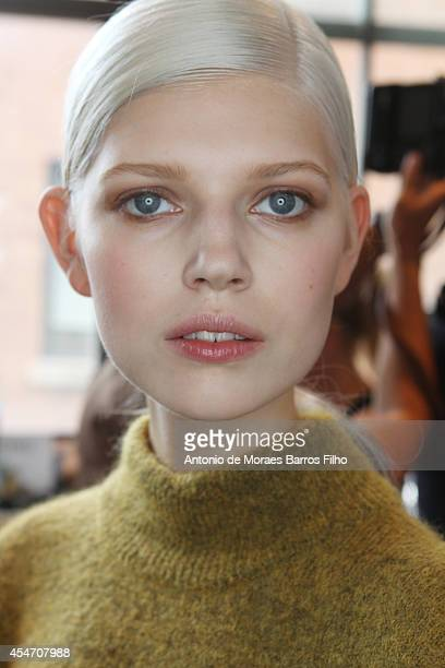 A model poses backstage at the Jason Wu show at MercedesBenz Fashion Week Spring 2015 at Spring Studios on September 5 2014 in New York City