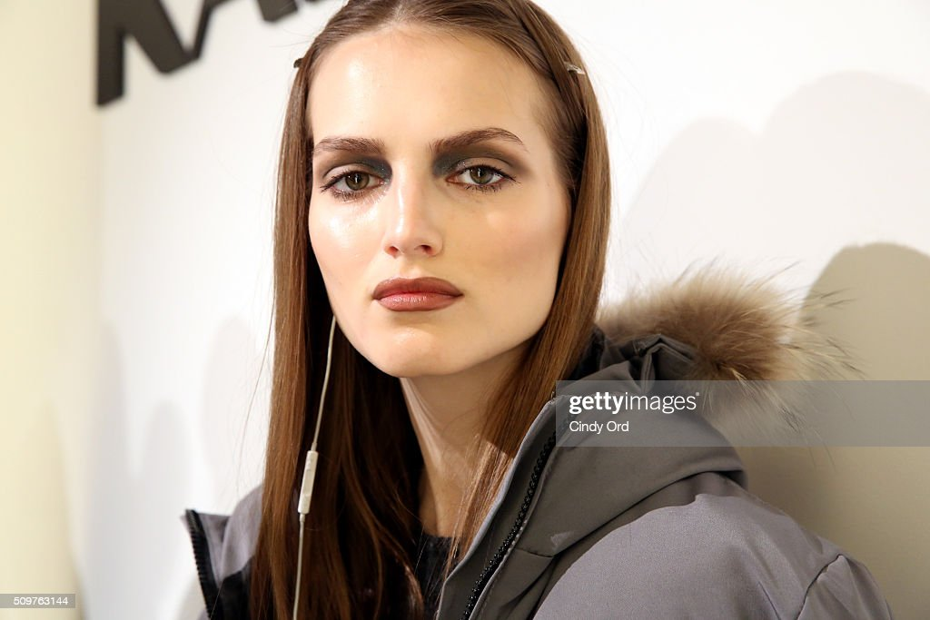 A model poses backstage at the Karigam Fall 2016 fashion show during New York Fashion Week: The Shows at The Space, Skylight at Clarkson Sq on February 12, 2016 in New York City.