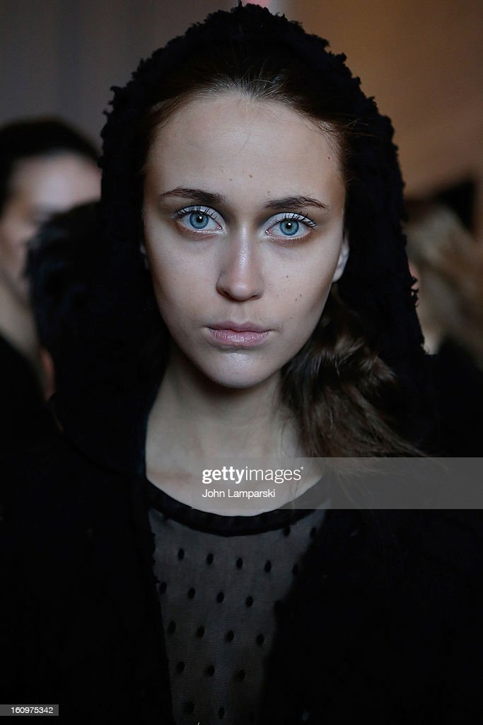 A model poses backstage at the Katie Gallagher Presentation during Fall 2013 Mercedes-Benz Fashion Week at The Standard Hotel on February 8, 2013 in New York City.
