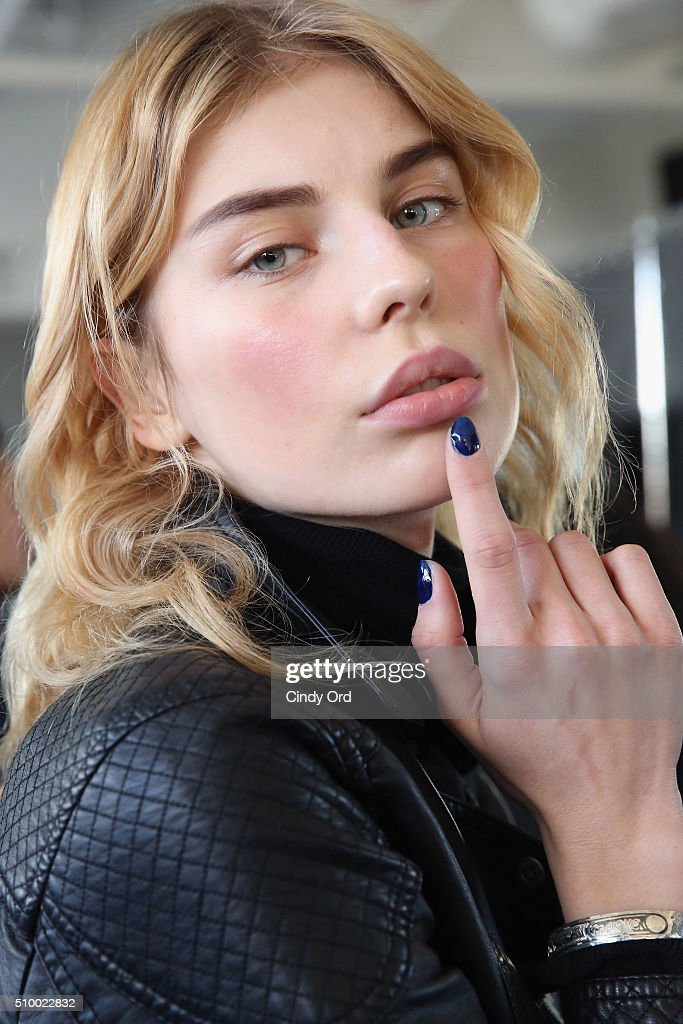 A model poses backstage at the LIE SANGBONG Fall-Winter 2016 Collection Show at Pier 59 on February 13, 2016 in New York, New York.
