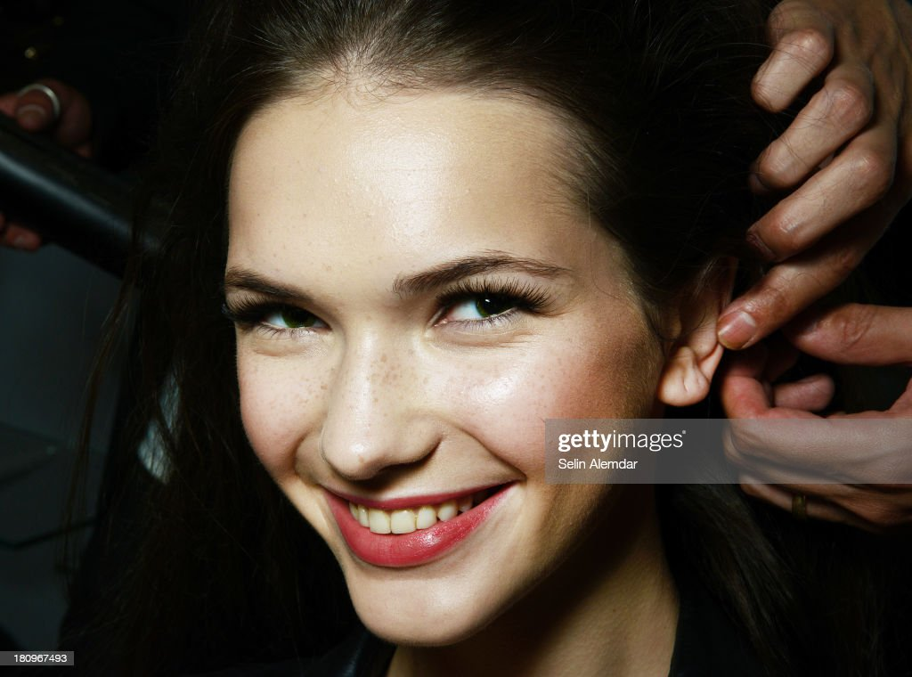A model poses backstage at the Luisa Beccaria show as part of Milan Fashion Week Womenswear Spring/Summer 2014 on September 18, 2013 in Milan, Italy.