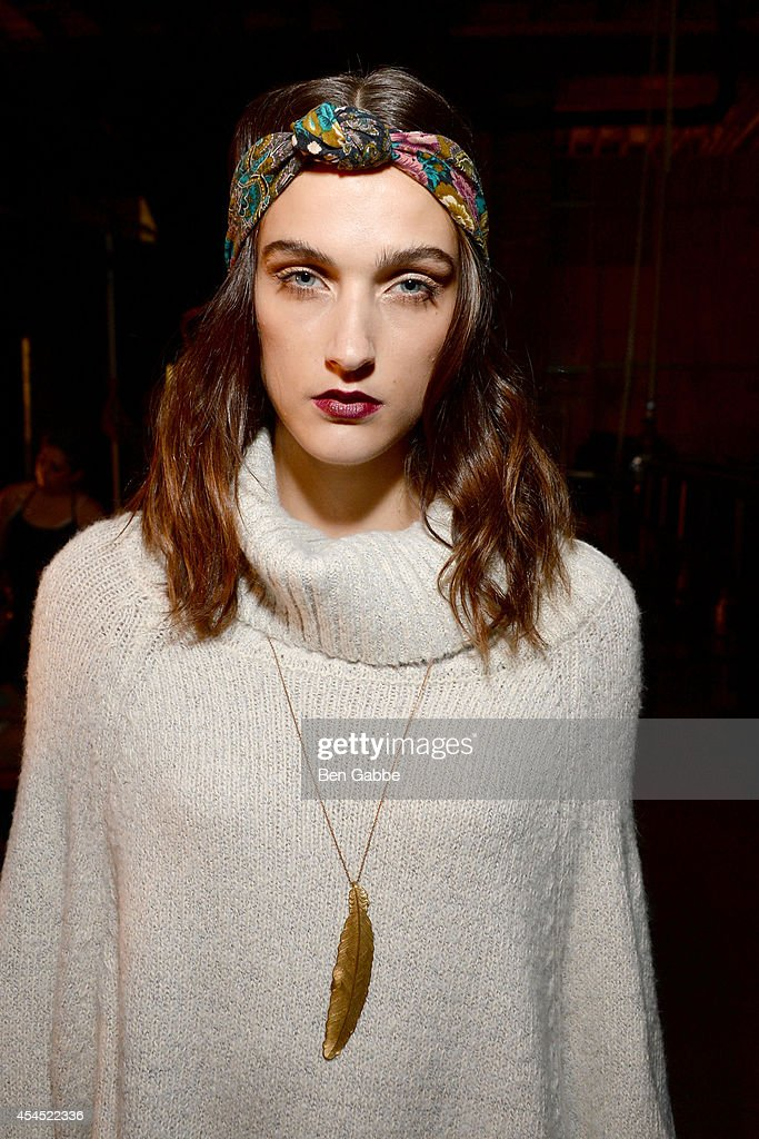 A model poses backstage at the Maison Jules Presentation during Mercedes-Benz Fashion Week Spring 2015 at Art Beam on September 2, 2014 in New York City.