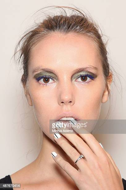 A model poses backstage at the Marissa Webb fashion show during Spring 2016 MADE Fashion Week at Milk Studios on September 10 2015 in New York City
