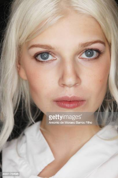 A model poses backstage at the Michael Kors show at MercedesBenz Fashion Week Spring 2015 at Spring Studios on September 10 2014 in New York City