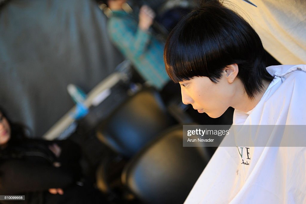 A model poses backstage at the Michelle Helene Presentation at Pier 59 on February 13, 2016 in New York City.