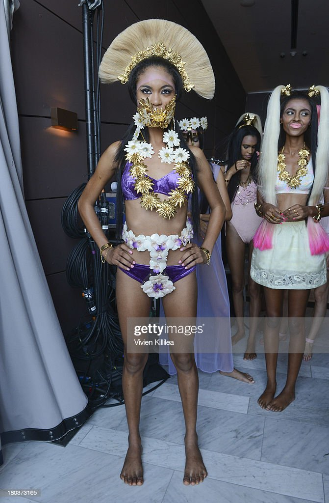 A model poses backstage at the Mordekai By Ken Borochov presentation during MADE Fashion Week Spring 2014 at The Standard Hotel - High Line Room on September 11, 2013 in New York City.