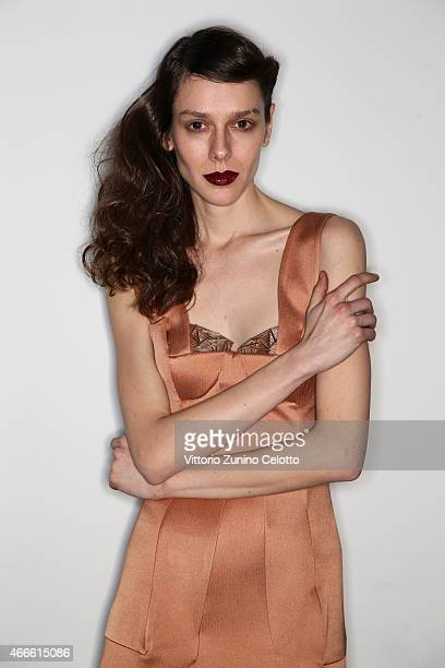 A model poses backstage at the Ozgur Masur show during Mercedes Benz Fashion Week Istanbul FW15 on March 17 2015 in Istanbul Turkey