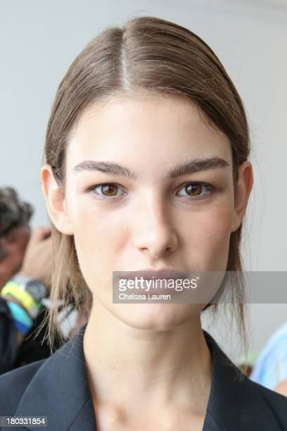 A model poses backstage at the Philosophy by Natalie Ratabesi fashion show during MercedesBenz Fashion Week Spring 2014 at Roseland Ballroom on...