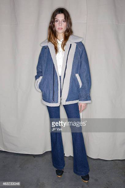 A model poses backstage at the Rachel Comey Collection during MercedesBenz Fashion Week Fall 2015 at Pioneer Works Center for Arts Innovation on...