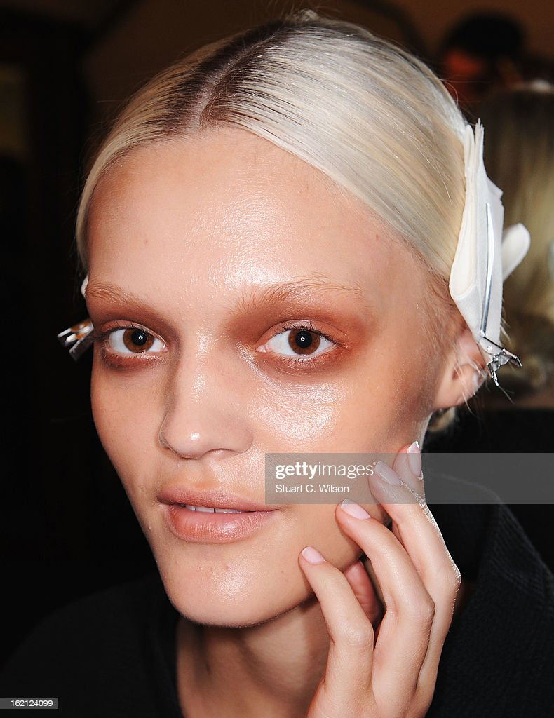 A model poses backstage at the Roksanda Ilincic show during London Fashion Week Fall/Winter 2013/14 at The Savoy on February 19, 2013 in London, England.