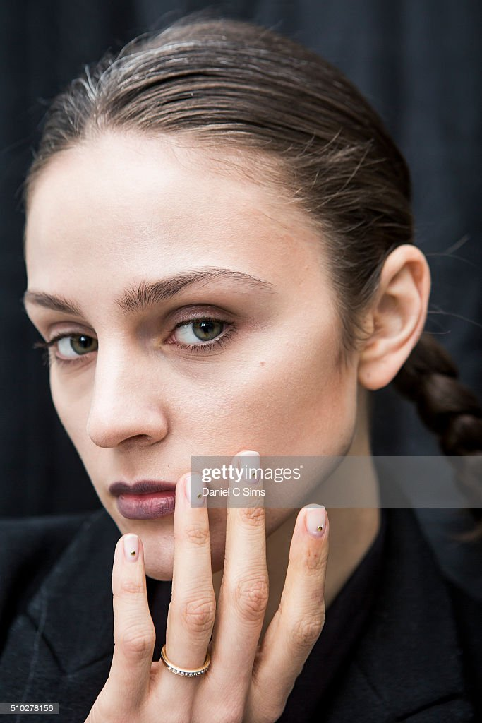 A model poses backstage at the Sally LaPointe show at the Fall 2016 New York Fashion Week on February 14, 2016 in New York City.