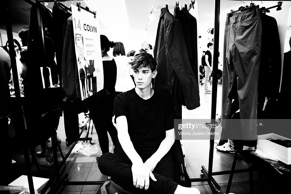 A model poses backstage at the Z Zegna show during Milan Menswear Fashion Week Spring Summer 2014 on June 25, 2013 in Milan, Italy.