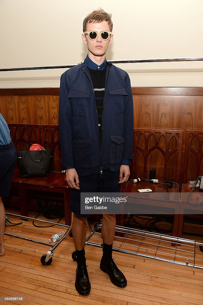 A model poses backstage at Timo Weiland Men's during Mercedes-Benz Fashion Week Spring 2015 at The Highline Hotel on September 3, 2014 in New York City.