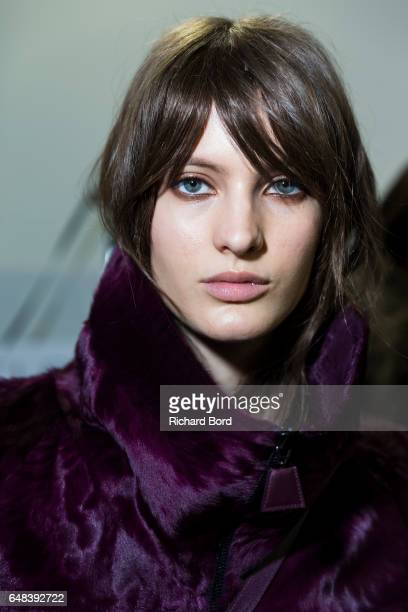 A model poses backstage before the Akris show at Palais de Tokyo as part of the Paris Fashion Week Womenswear Fall/Winter 2017/2018 on March 5 2017...