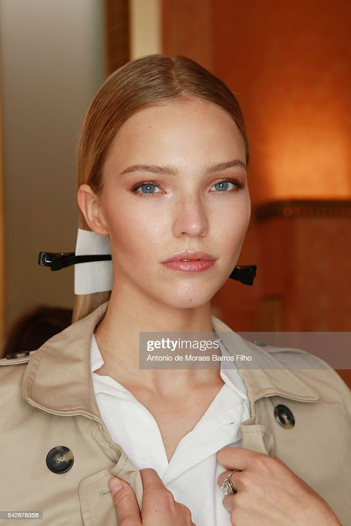 A model poses backstage before the Balmain Menswear Spring/Summer 2017 show as part of Paris Fashion Week on June 25, 2016 in Paris, France.