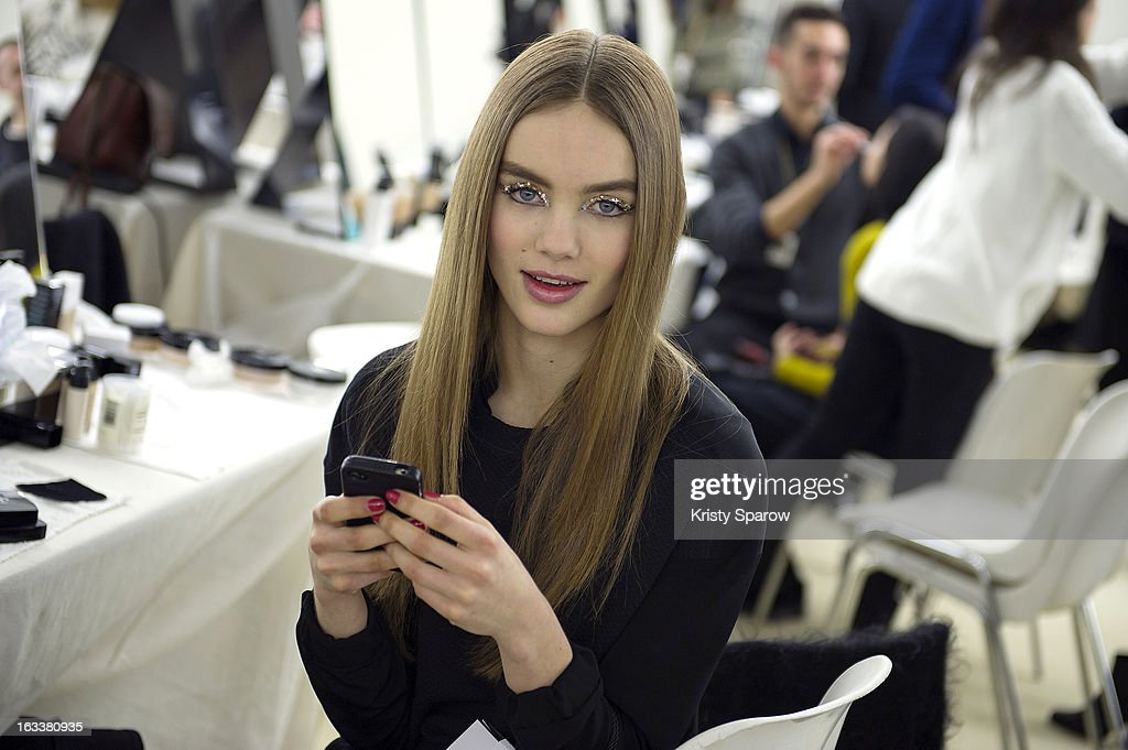 A model poses backstage before the Chanel Fall/Winter 2013/14 Ready-to-Wear show as part of Paris Fashion Week at Grand Palais on March 5, 2013 in Paris, France.