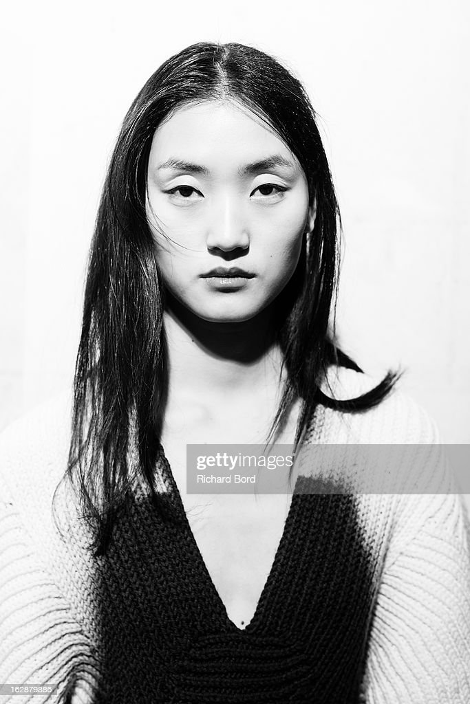 A model poses backstage before the Christian Wijnants Fall/Winter 2013 Ready-to-Wear show as part of Paris Fashion Week on February 28, 2013 in Paris, France.
