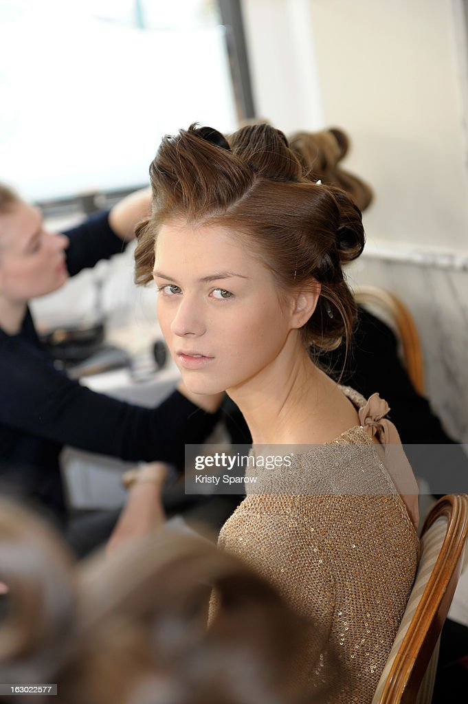 A model poses backstage before the Collette Dinnigan 2013/14 Ready-to-Wear show as part of Paris Fashion Week at Le Meurice on March 3, 2013 in Paris, France.