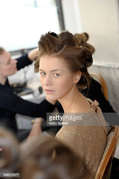 A model poses backstage before the Collette Dinnigan 2013/14 ReadytoWear show as part of Paris Fashion Week at Le Meurice on March 3 2013 in Paris...