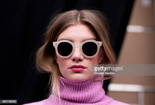 A model poses backstage before the JCrew presentation during MercedesBenz Fashion Week Fall 2015 at The Pavilion at Lincoln Center on February 17...