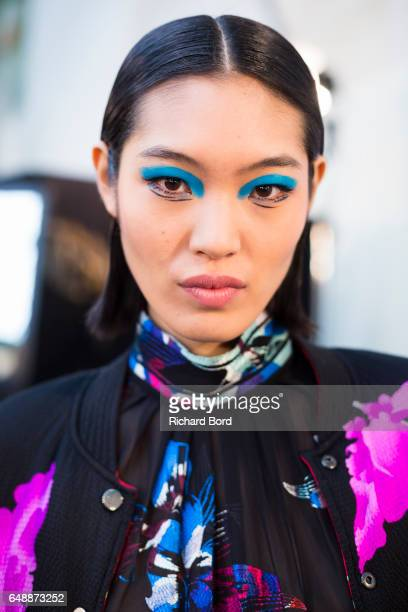A model poses backstage before the Leonard Paris show during Paris Fashion Week Womenswear Fall/Winter 2017/2018 on March 6 2017 in Paris France
