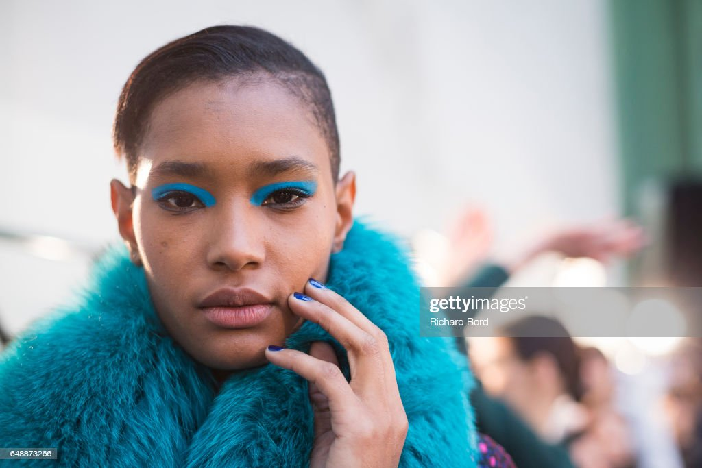 A model poses backstage before the Leonard Paris show during Paris Fashion Week Womenswear Fall/Winter 2017/2018 on March 6, 2017 in Paris, France.