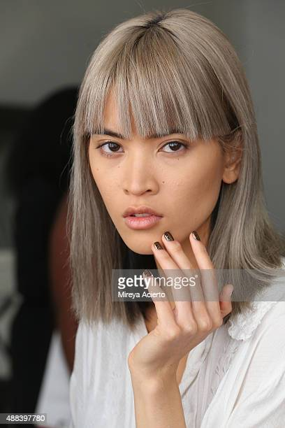 A model poses backstage before the Sophie Theallet fashion show during Spring 2016 MADE Fashion Week at Shop Studios on September 15 2015 in New York...