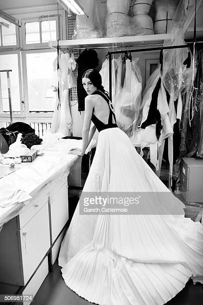A model poses backstage before the Stephane Rolland show as part of Paris Fashion Week Haute Couture Spring/Summer 2015 on January 26 2015 in Paris...