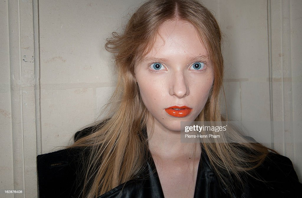 A model poses backstage before theChristian Wijnants Fall/Winter 2013 Ready-to-Wear show as part of Paris Fashion Week on February 28, 2013 in Paris, France.