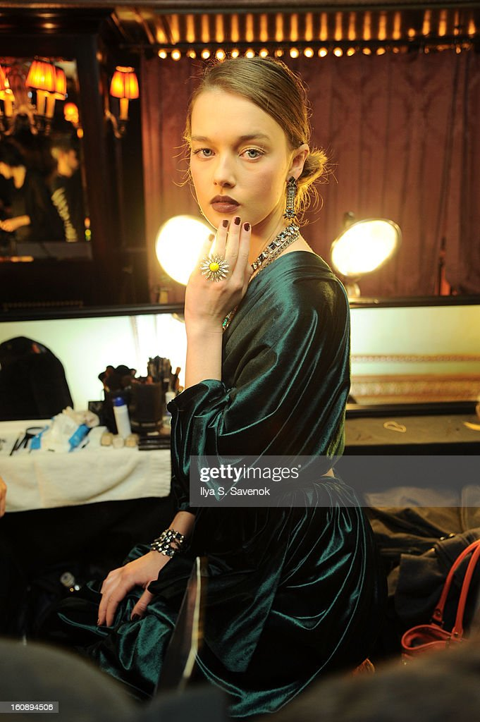 A model poses backstage during the Dannijo fall 2013 presentation during MercedesBenz Fashion Week at The Jane Hotel on February 7 2013 in New York...