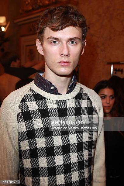 A model poses backstage during the N21 show as a part of Milan Menswear Fashion Week Fall Winter 2015/2016 on January 18 2015 in Milan Italy