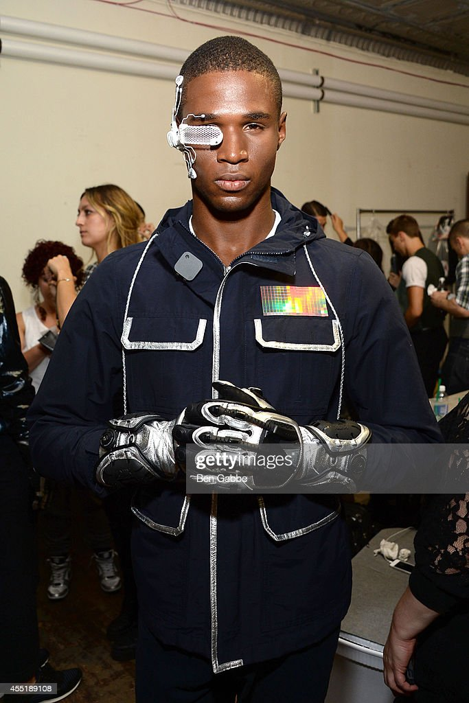A model poses backstage for first looks at the Marlon Gobel Fashion Show during MercedesBenz Fashion Week Spring 2015 at Park Avenue Armory on...