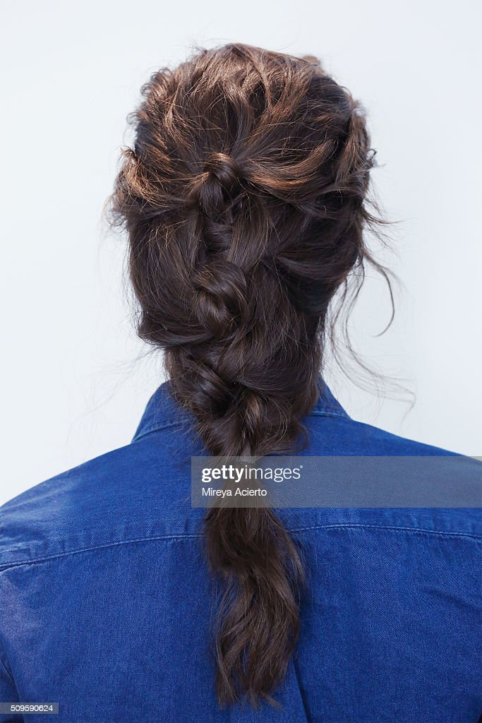 A model poses backstage, hair detail, at the Brock Collection fashion show during Fall 2016 MADE Fashion Week at Milk Studios on February 11, 2016 in New York City.