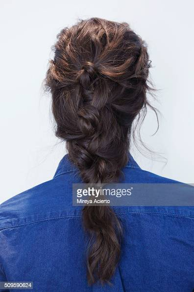 A model poses backstage hair detail at the Brock Collection fashion show during Fall 2016 MADE Fashion Week at Milk Studios on February 11 2016 in...