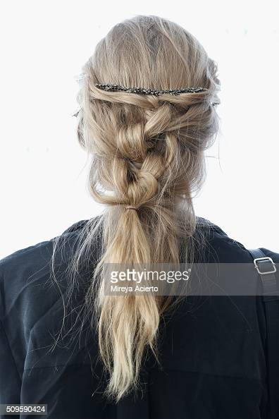 A model poses backstage hair detail for the Brock Collection fashion show during Fall 2016 MADE Fashion Week at Milk Studios on February 11 2016 in...