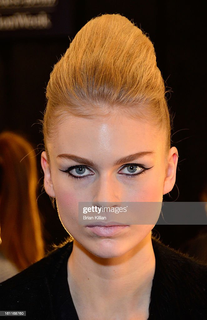 A model poses backstage just before the start of the Son Jung Wan during Fall 2013 Mercedes-Benz Fashion Week at The Studio at Lincoln Center on February 9, 2013 in New York City.