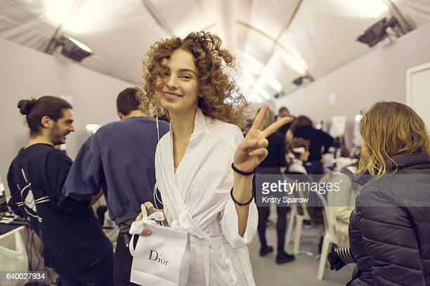 A model poses backstage prior the Christian Dior Spring Summer 2017 show as part of Paris Fashion Week on January 23 2017 in Paris France