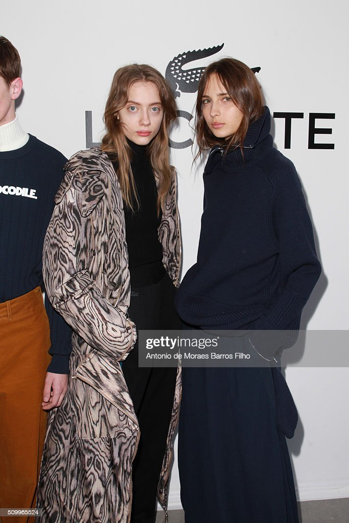 A model poses backstage prior the Lacoste show as a part of Fall 2016 New York Fashion Week at Spring Studios on February 13, 2016 in New York City.