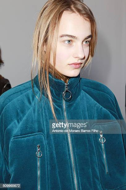 A model poses backstage prior the Lacoste show as a part of Fall 2016 New York Fashion Week at Spring Studios on February 13 2016 in New York City