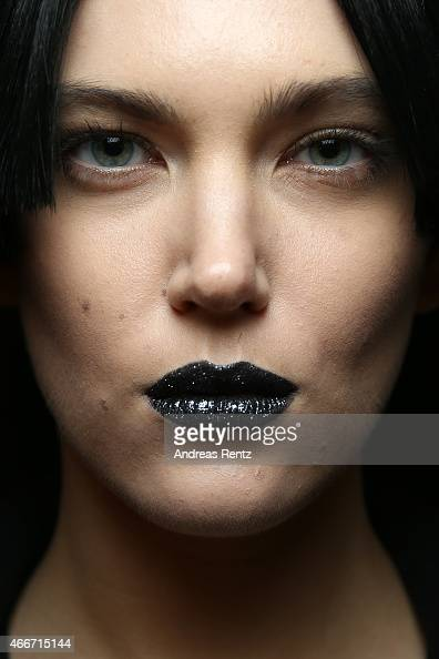 A model poses backstage prior the Maid In Love show during Mercedes Benz Fashion Week Istanbul FW15 on March 18 2015 in Istanbul Turkey
