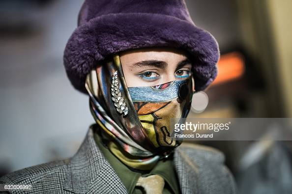 A model poses Backstage prior the Walter Van Beirendonck Menswear Fall/Winter 20172018 show as part of Paris Fashion Week on January 18 2017 in Paris...