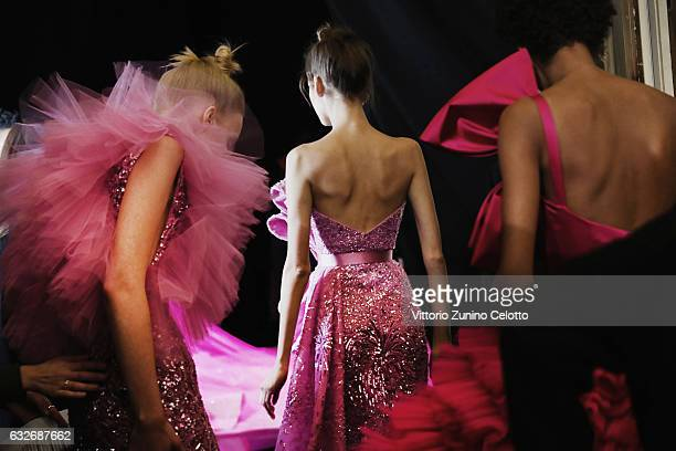 A model poses Backstage prior the Zuhair Murad Fashion Week on January 25 2017 in Paris France