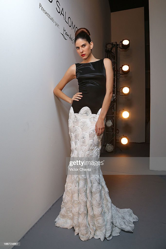 A model poses backstage prior to David Salomon runway during the first day of Mercedes-Benz Fashion Week Mexico Fall/Winter 2013 at Carpa Santa Fe on April 15, 2013 in Mexico City, Mexico.